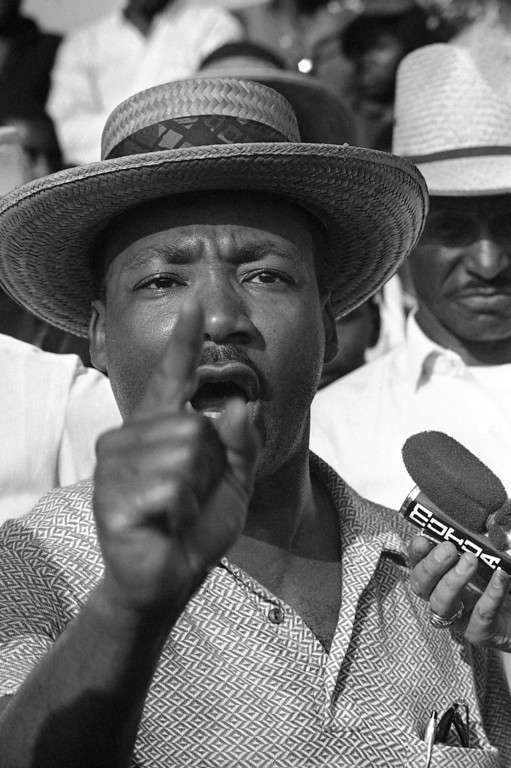 . �We want all our rights and we want them now,� says Dr. Martin Luther King as he addresses some 200 marchers that accompanied him and other Civil Rights leaders on a trek along U.S. 51 in Northwest Mississippi in Senatobia, Wednesday, June 9, 1966. The march is being made along a route chosen by James Meredith for a Memphis-to-Jackson walk before he was wounded from ambush on Monday. (AP Photo)