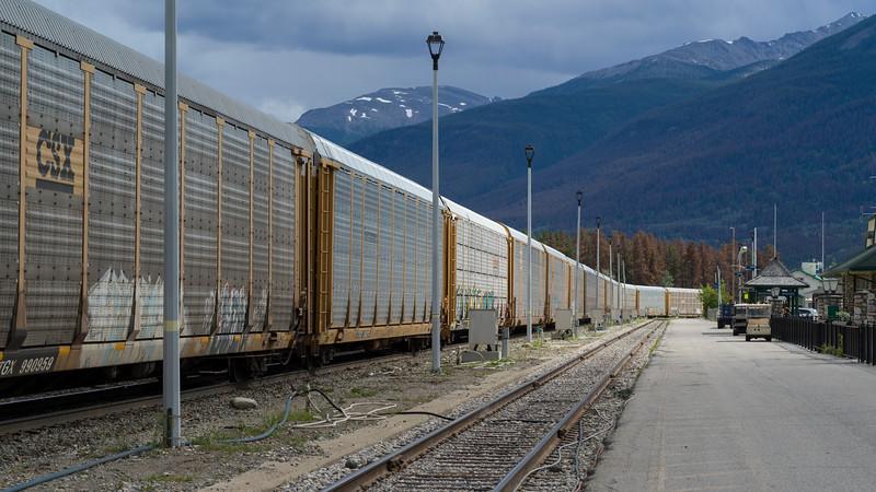 Freight train on tracks, Jasper National Park, Jasper, Alberta, Canada