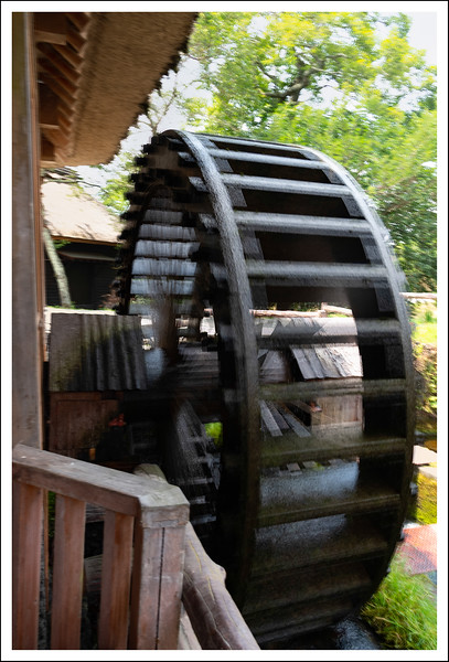 An active water wheel used to grind buckwheat flour.
