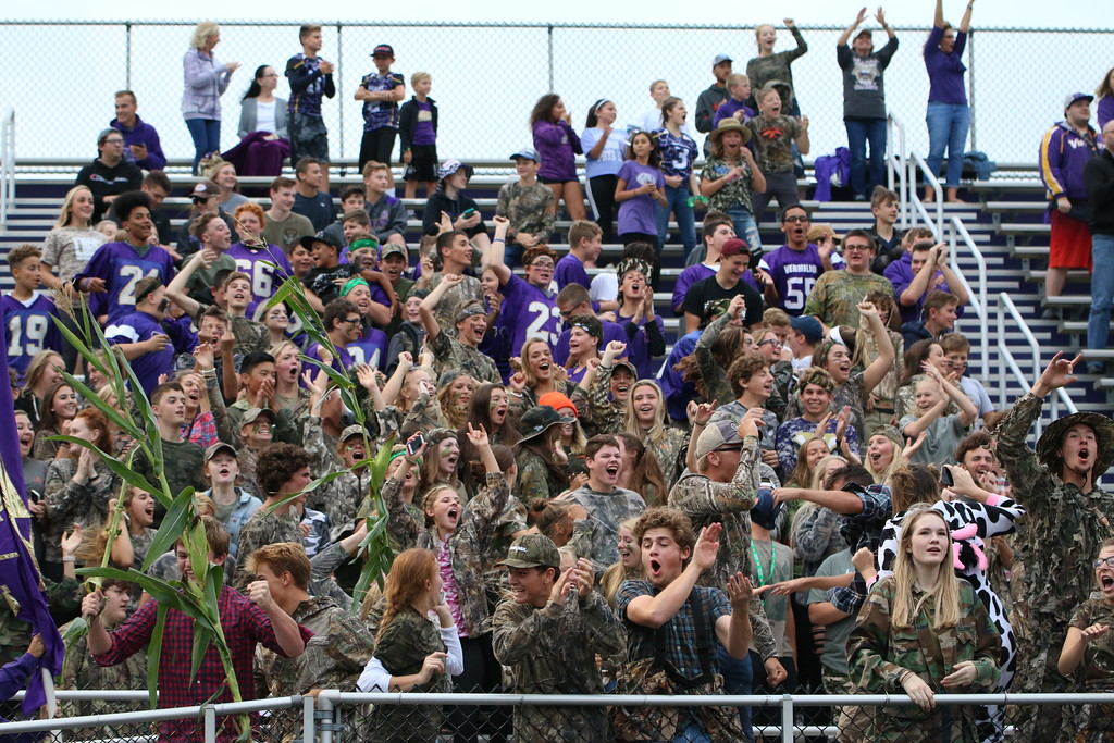 . Kyle Sooy - The Morning Journal<br> The Vermilion student section had a camo theme for the Sept. 7 game against Firelands.