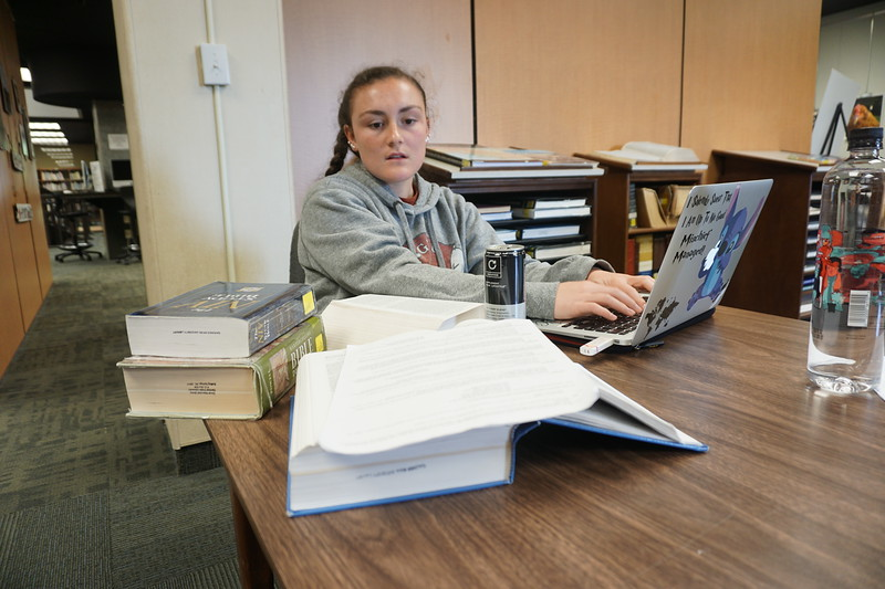 Callista Eckert gets ahead on her homework for the Old Testament class she is taking in the summer in the library.