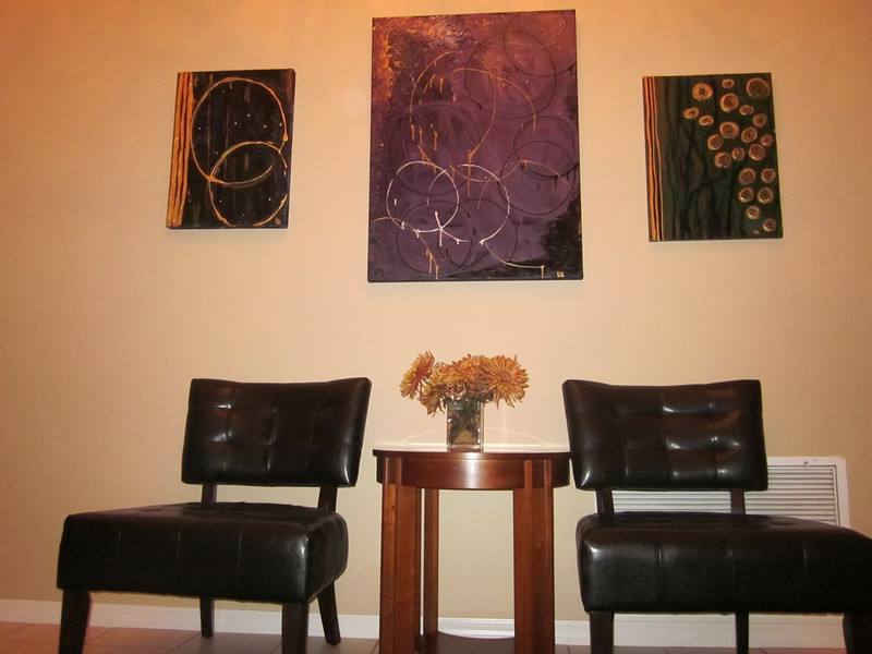 Three new paintings (by me) and entry hall seating area