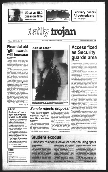 Daily Trojan, Vol. 111, No. 15, February 01, 1990