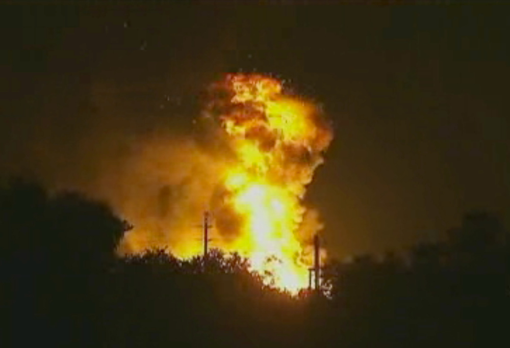. In this image taken from Associated Press video, flames rise from an explosion at the Blue Rhino propane plant in Tavares City, Fla., late Monday, July 29, 2013. John Herrell of the Lake County Sheriff\'s Office said early Tuesday that there were no fatalities despite massive blasts that ripped through the gas plant. Seven people were injured and transported to local hospitals. (AP Photo/AP video)