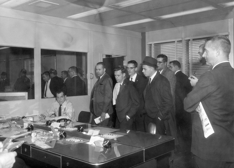 December 3 1962 FOP tour of new Police HQ - Dispatch area Tony Price on duty