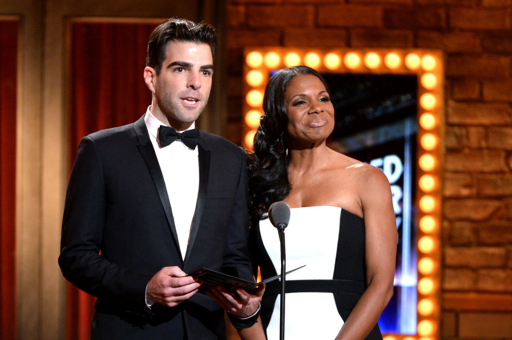 . Zachary Quinto (L) and Audra McDonald speak onstage at The 67th Annual Tony Awards at Radio City Music Hall on June 9, 2013 in New York City.  (Photo by Andrew H. Walker/Getty Images for Tony Awards Productions)