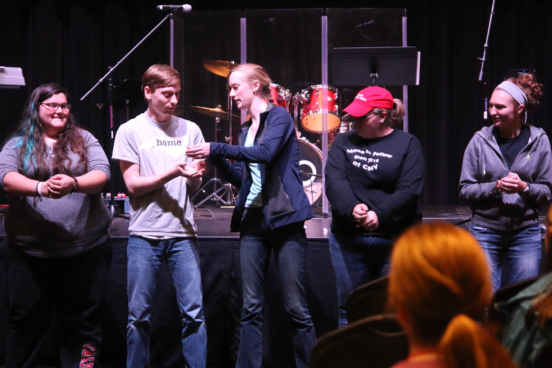"After the breakout sessions FOCUS members met to go over rules and a short devotional lead by Erica Wright, FOCUS Coordinator, before all of that some of the FOCUS Leaders entertained the members by performing the comedy ""Beans Skit."""