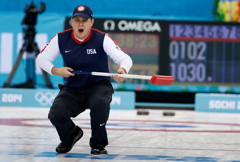 . John Shuster, skip of the United States team, reacts as his shot enters the house during men\'s curling competition against China at the 2014 Winter Olympics, Tuesday, Feb. 11, 2014, in Sochi, Russia. (AP Photo/Robert F. Bukaty)