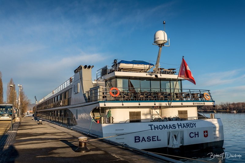 Stern view of the Thomas Hardy berthed in Vienna