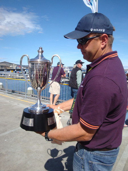 Unbelievably, the afternoon before Wild Oats arrived, after national television had filmed it, the race trophy was carried right past us.