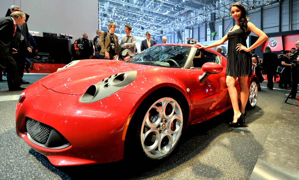 . An Alfa Romeo 4C is shown during the press day at the 83rd Geneva International Motor Show in Geneva, Switzerland, Tuesday, March 5, 2013. The Motor Show will open its gates to the public from 7th to 17th March presenting more than 260 exhibitors and more than 130 world and European premieres. (AP Photo/Keystone, Photopress/Christian Brun)