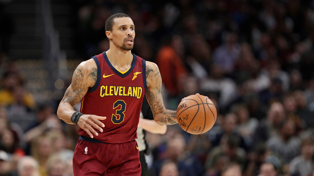 . Cleveland Cavaliers\' George Hill drives against the Toronto Raptors in the second half of an NBA basketball game, Wednesday, March 21, 2018, in Cleveland. (AP Photo/Tony Dejak)