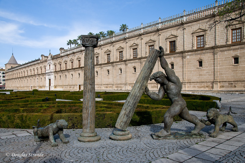 Tue 3/15 in Seville: Hercules monument at the Parliament of Andalusia