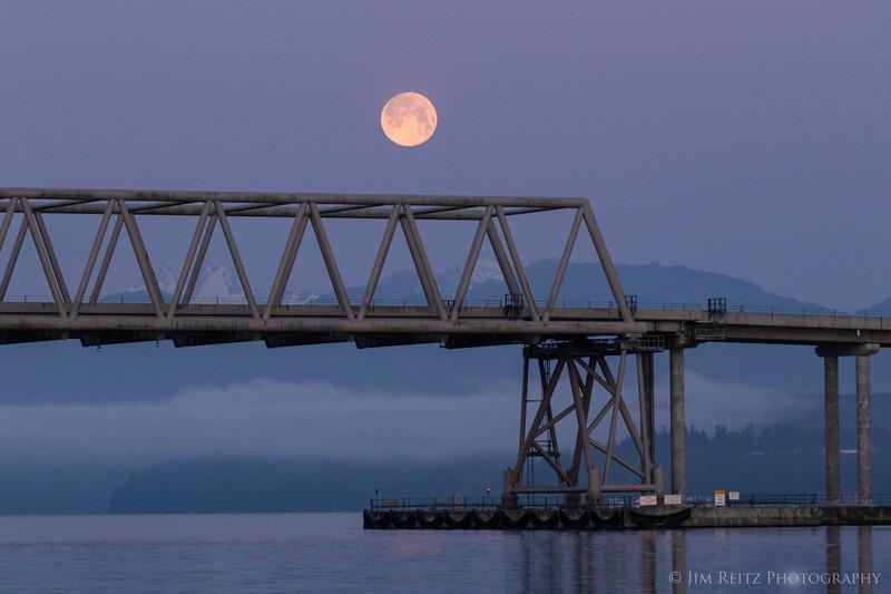 Moon set over Hood Canal bridge