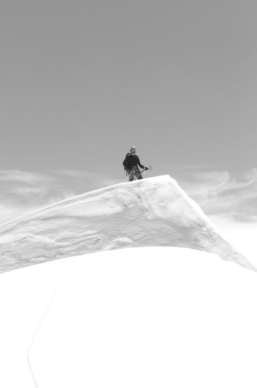 Surfing the mountains. Andrew on the top of the Hochstetter Dome.
