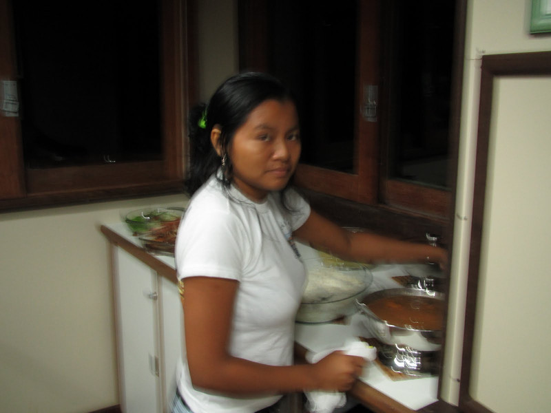 Valeria setting up our dinner buffet