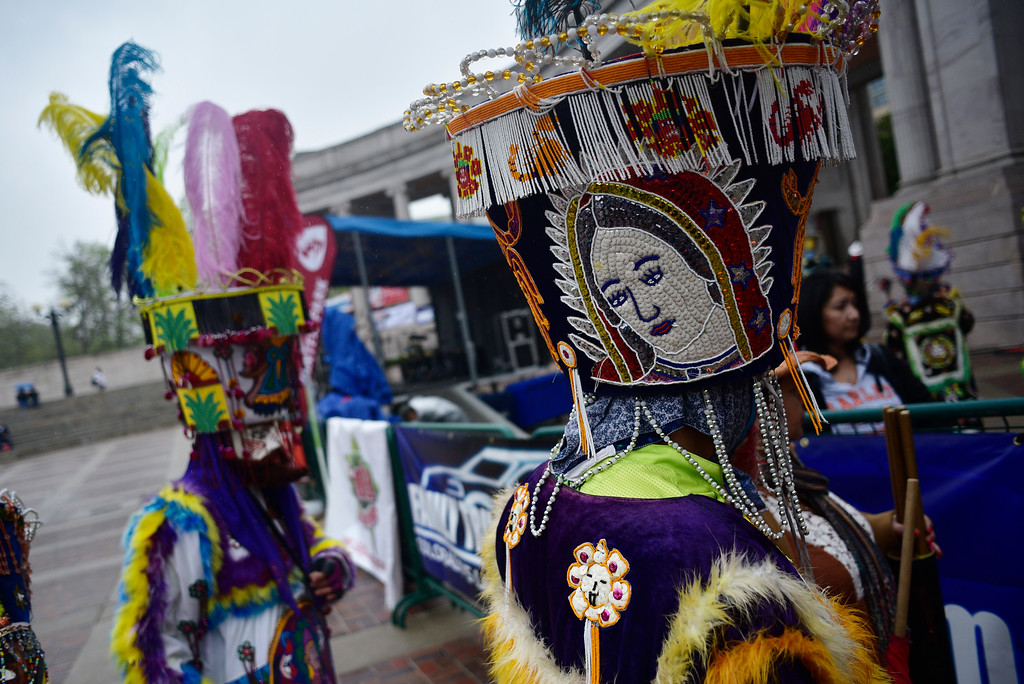 . A dancer\'s costume during the 29th Annual Cinco De Mayo Celebration at Civic Center Park in downtown Denver, Colorado, Saturday, May 7, 2016. Festivities were hampered by afternoon showers and some hail on Saturday, however festivities will continue on Sunday. (Brenden Neville/Special to the Denver Post)