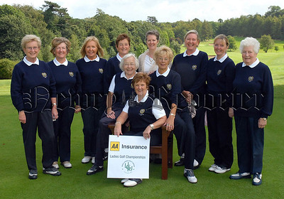 Ann Moylan (Insurance Manager, AA Insurance) pictured with the Warrenpoint GC Ladies team competing in the Challenge Cup Final at the AA Insurance Ladies Championship Northern District Finals at Royal Belfast GC yesterday (Sun 27/08/2006).At back (from left) Vera Price, Phyllis Murdock, Ann Black, Eileen McGreavey, Mary Jenkins, Mary Mackin and Pauline Grills . In front Cathy Brooks (Lady President), Ita Parr (Lady Captain) and Betty Turkington (Team Captain). Picture by Pat Cashman Issued FREE on behalf of the Irish Ladies Golf Union.