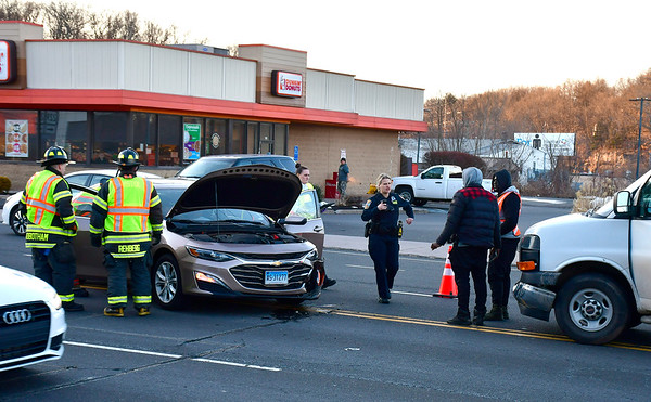 3/12/2019 Mike Orazzi | Staff The scene of a two vehicle crash on Pine Street near Middle Street in Bristol Tuesday evening. No serious injuries were reported.
