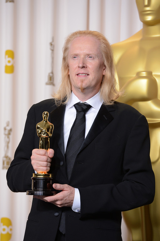 ". Paul N.J. Ottosson accepts the award for best sound editing for ""Zero Dark Thirty\""  backstage at the 85th Academy Awards at the Dolby Theatre in Los Angeles, California on Sunday Feb. 24, 2013 ( David Crane, staff photographer)"