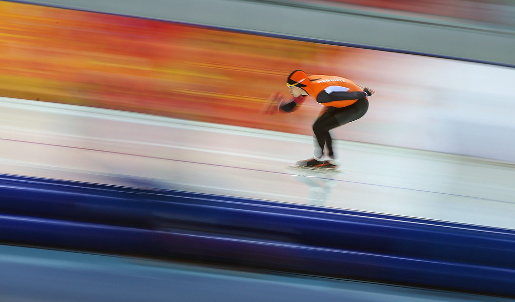 . Stefan Groothuis of the Netherlands during the Men\'s 1,500m Speed Skating event in the Adler Arena at the Sochi 2014 Olympic Games, Sochi, Russia, 15  February 2014.  EPA/HANNIBAL HANSCHKE