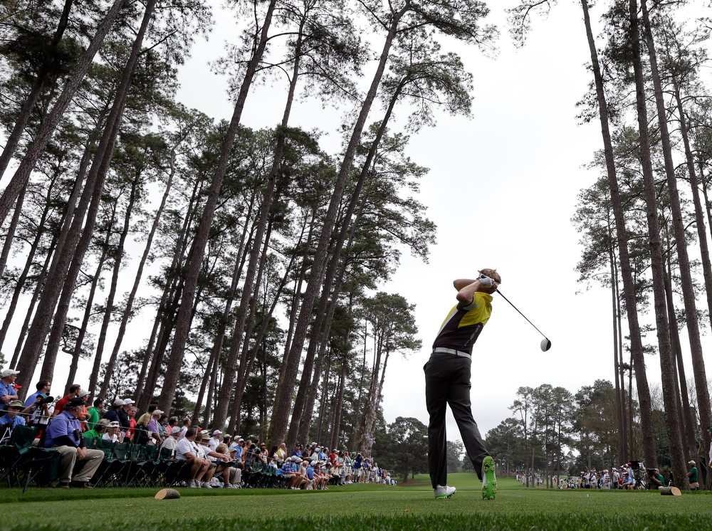 . David Lynn, of England, tees off at the 16th hole during the first round of the Masters golf tournament Thursday, April 11, 2013, in Augusta, Ga. (AP Photo/David J. Phillip)