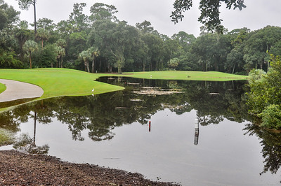 The pond by the tee for the 15th hole is well over its banks.