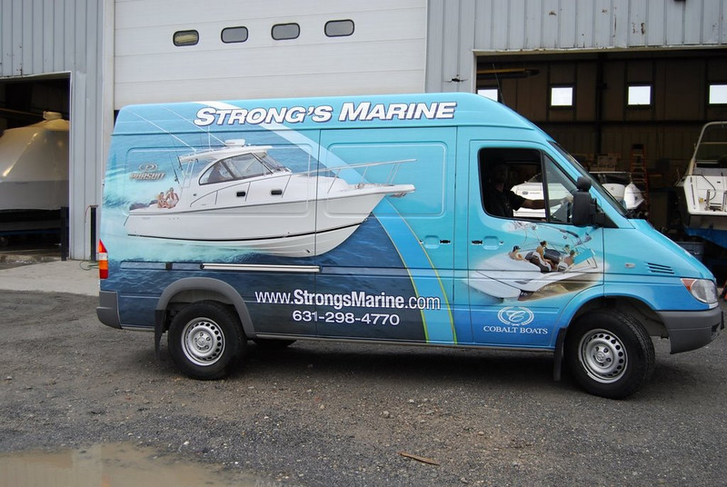 Vehicle Wrap installed on a Sprinter Van for Strong's Marine.   http://www.skinzwraps.com