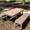 timber and steel picnic table and benches