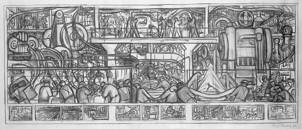 . The Assembly of an Automobile, Diego Rivera, 1932, charcoal on paper, Leeds Museum and Galleries (Leeds Art Gallery)