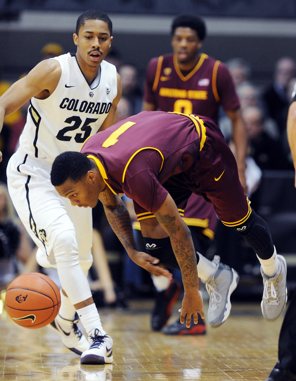 . Arizona State\'s Jahii Carson (1) loses control of the ball in front of Colorado Spencer Dinwiddie during the first half of an NCAA college basketball game on Saturday, Feb. 16, 2013, in Boulder, Colo. (AP Photo/Daily Camera, Cliff Grassmick)