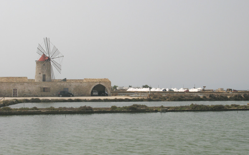 Salt piles being harvested