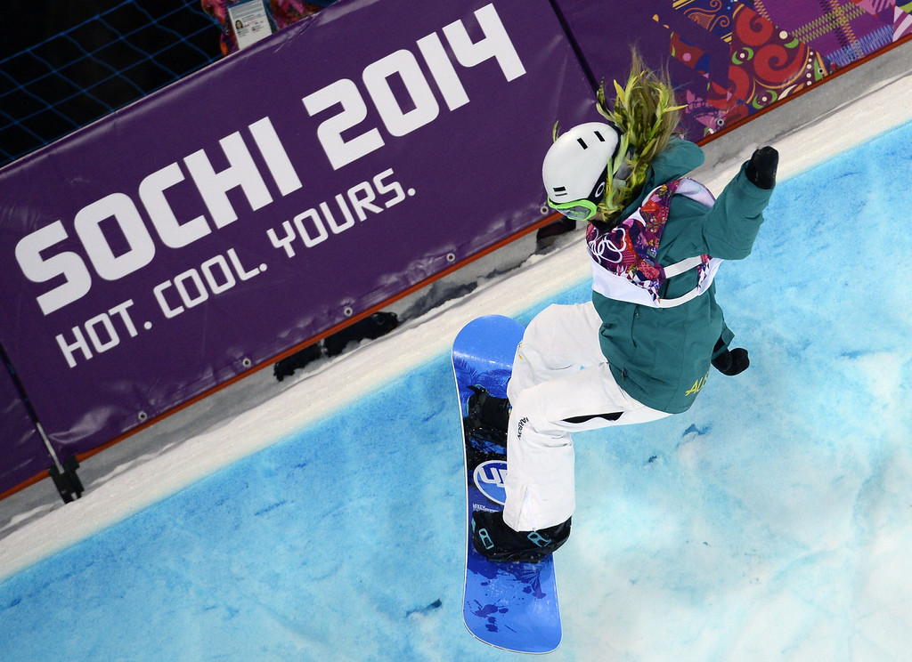 . Australia\'s Stephanie Magiros competes in the Women\'s Snowboard Halfpipe Semifinals at the Rosa Khutor Extreme Park during the Sochi Winter Olympics on February 12, 2014.  AFP PHOTO / FRANCK FIFE/AFP/Getty Images