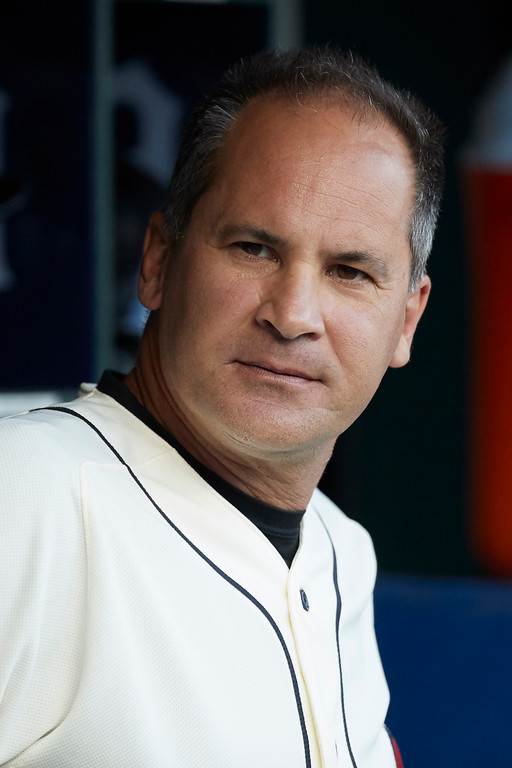 . Detroit Tigers first base coach Omar Vizquel (13) in the dugout prior to the second baseball game of a doubleheader against the Cleveland Indians in Detroit, Saturday, July 1, 2017. (AP Photo/Rick Osentoski)