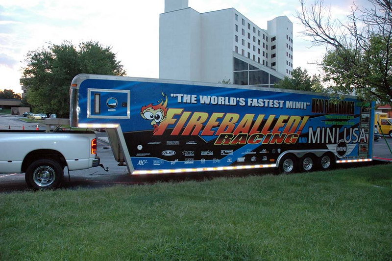 The drag-prepared MINI is inside this trailer.