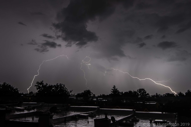 Lightning over Brooklyn rooftops.