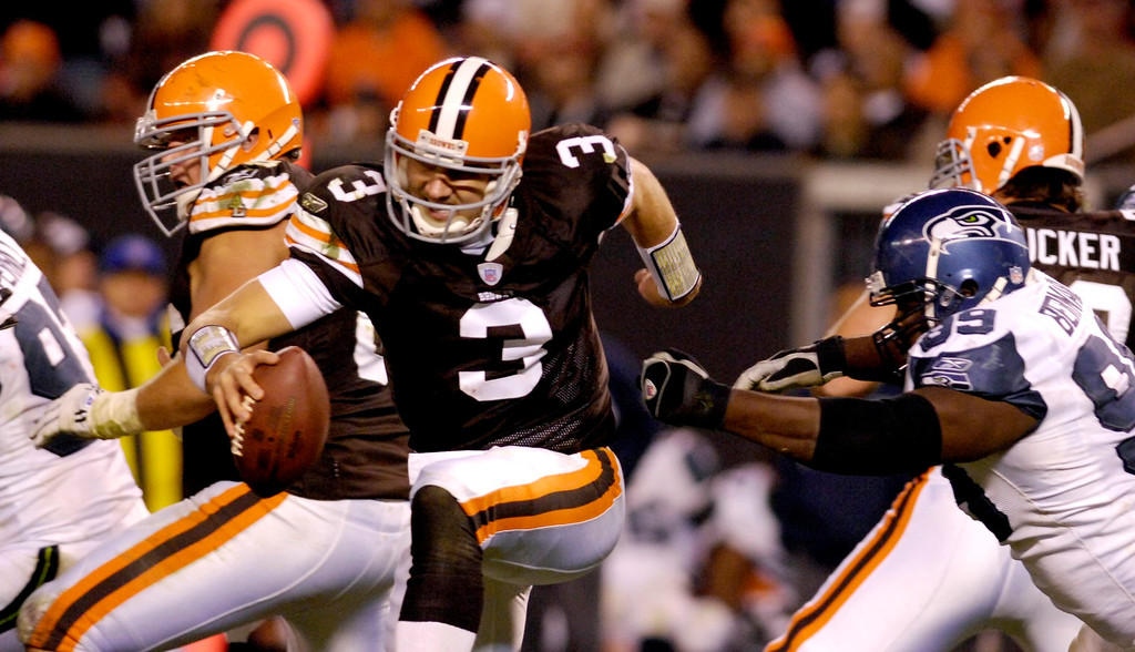 . News-Herald file Browns quarterback Derek Anderson is on the run during the second half of Sunday\'s game against Seattle. Anderson well protected by the Browns offensive line despite the fact that the Seahawks came into this game with 24 sacks on the season.