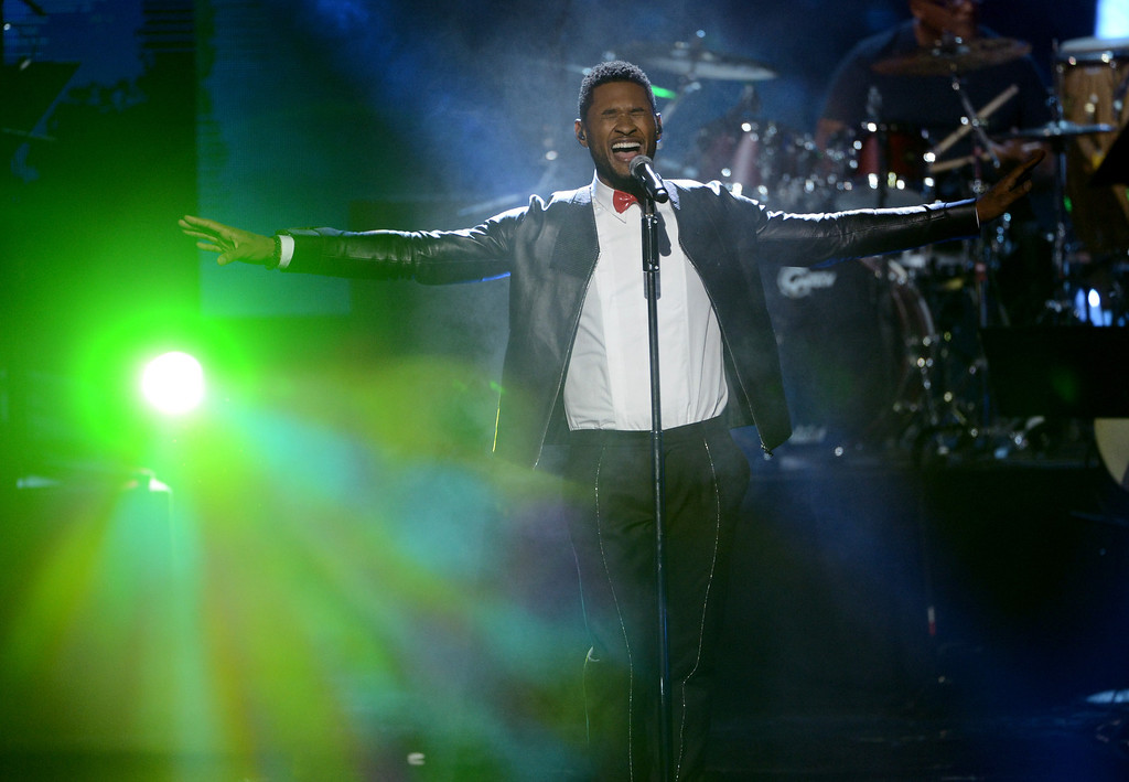 . LOS ANGELES, CA - APRIL 18:  Singer Usher performs onstage at the 28th Annual Rock and Roll Hall of Fame Induction Ceremony at Nokia Theatre L.A. Live on April 18, 2013 in Los Angeles, California.  (Photo by Kevin Winter/Getty Images)