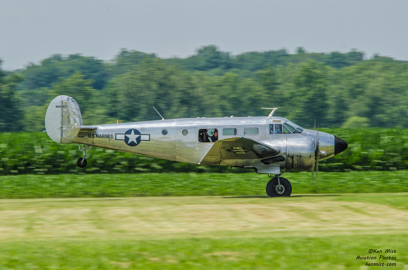 The National Warplane Museum's C-45H Expiditor, a military version of the Beechcraft Model 18 Twin Beech at the 2015 Geneseo Air Show.  Off on a mission as a photoship.