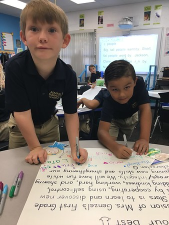 Signing our Classroom rules and Mission Statement