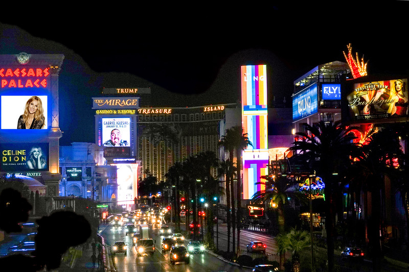Las Vegas Strip photo, taken from the pedestrian cross bridge near the Flamingo. Photograph by Jefferson Graham.