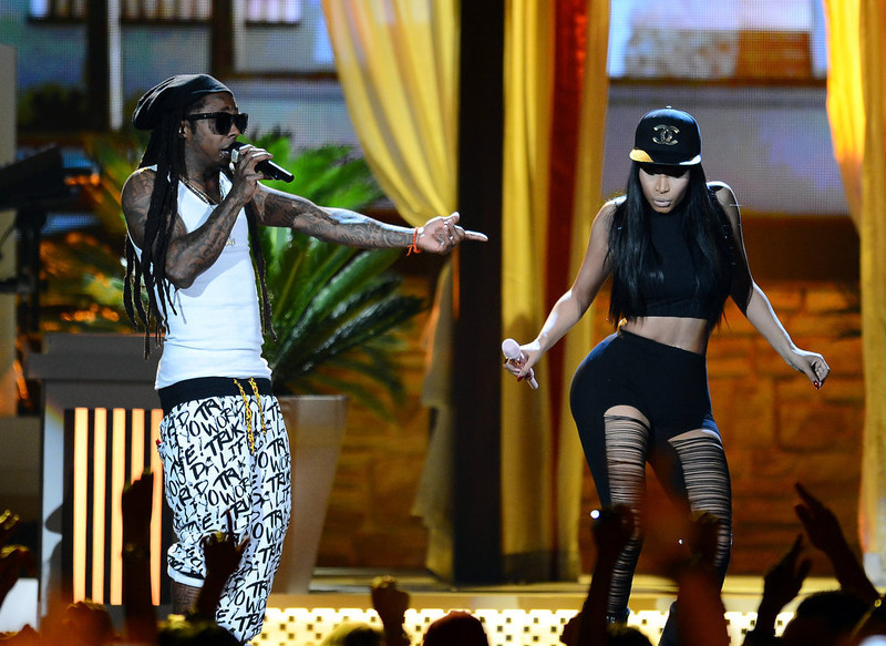 . Rapper Nicki Minaj and rapper Lil Wayne perform onstage during the 2013 Billboard Music Awards at the MGM Grand Garden Arena on May 19, 2013 in Las Vegas, Nevada.  (Photo by Ethan Miller/Getty Images)