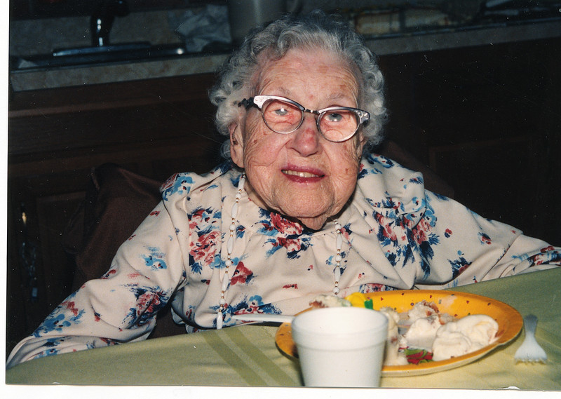 "Josie Louisa (Dew) Brinker (1897-1999) Written in the Rogers Reunion Photo Album Volume III page 63 ""Josie (Dew) Brinker photo taken July 8, 1997 born July 7, 1897 Pinecrest, Mt. Morris, Illinois – 100th birthday party."