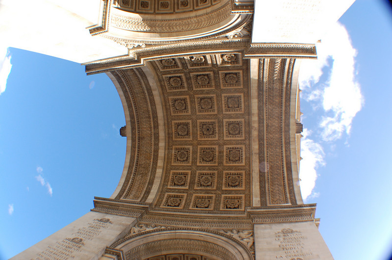 From directly under the Arc deTriomphe - looking UP.  I used my new super-wide angle lens.