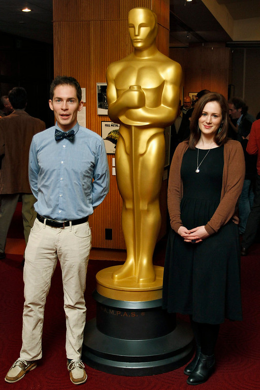 """. Timothy Reckart (L) and Fodhla Cronin O\'Reilly, filmmakers of the Animated Short Film nominee \""""Head Over Heels\"""", arrive at \""""Oscar Celebrates: Shorts,\"""" featuring this year\'s Oscar-nominated films in the Animated and Live-Action Short Film categories, at the Academy of Motion Picture Arts and Sciences in Beverly Hills, California, February 19, 2013. REUTERS/Jonathan Alcorn"""