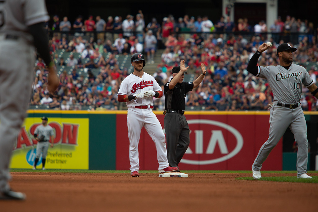 . Yan Gomes of the Cleveland Indians stands on second base after hitting a double during a regular season game against the Chicago White Sox at Progressive Field on June 20, 2018. The Indians defeated the Sox 12-0. (The Morning Journal/Michael Johnson)