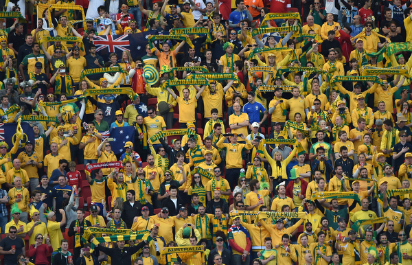 . Australian fans react prior to a Group B football match between Australia and the Netherlands at the Beira-Rio Stadium in Porto Alegre during the 2014 FIFA World Cup on June 18, 2014. (LUIS ACOSTA/AFP/Getty Images)