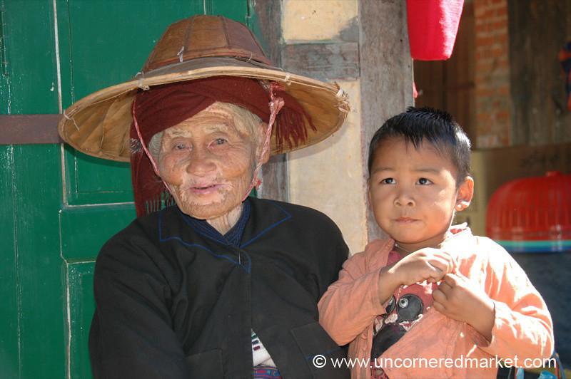 Burmese Grandmother and Grandson - Kalaw, Burma