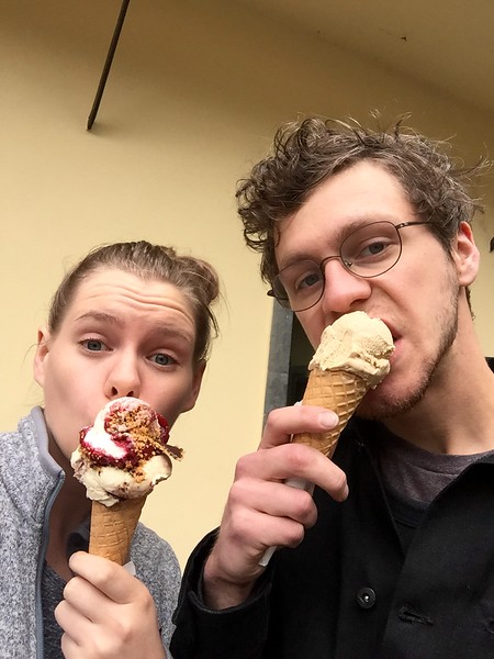 Tyler couldn't keep up with my ice cream eating abilities, and could only handle one scoop