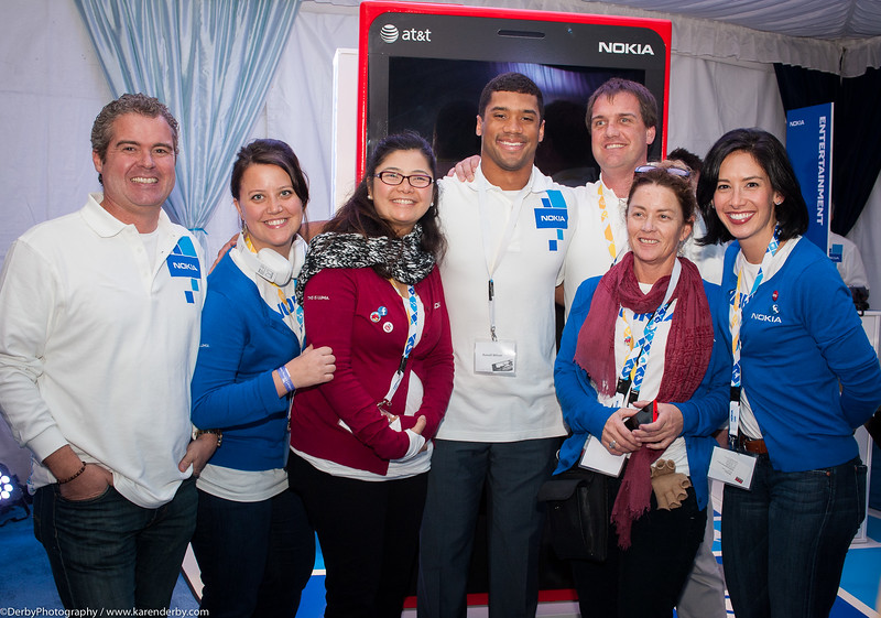 Photo op with Russell Wilson!  The highlight of the day for those who came by to get there Windows Phone.